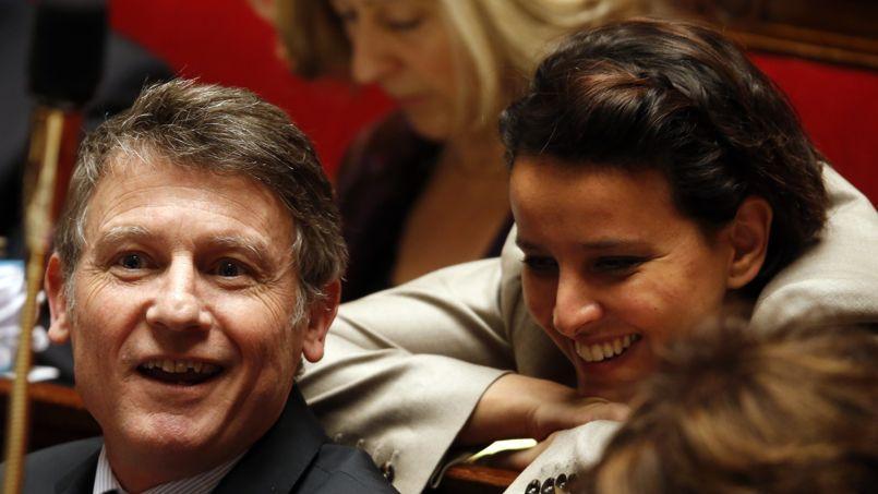 Vincent Peillon avec Najat Vallaud-Belkacem sur les banc de l'Assemblée nationale