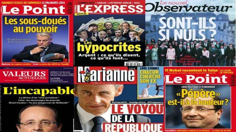 Les unes «bashing» des hebdos français, de Sarkozy à Ayrault