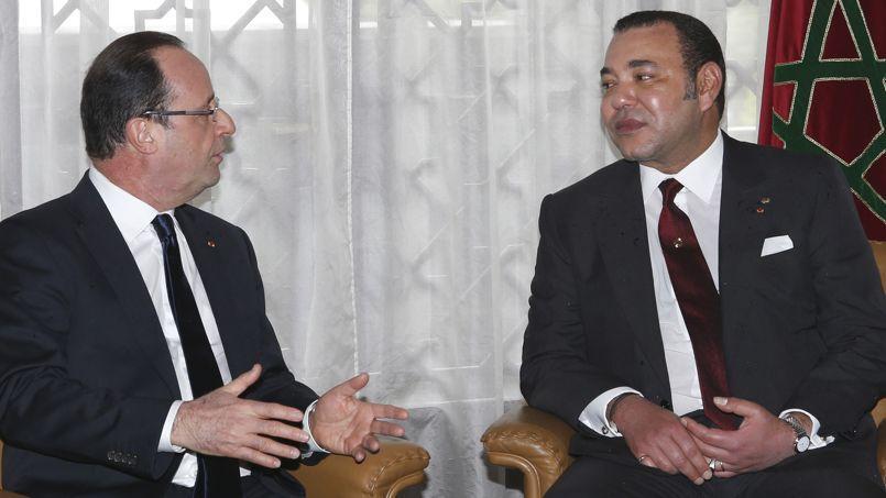 François Hollande et Mohammed VI au palais présidentiel à Casablanca le 3 avril 2013.