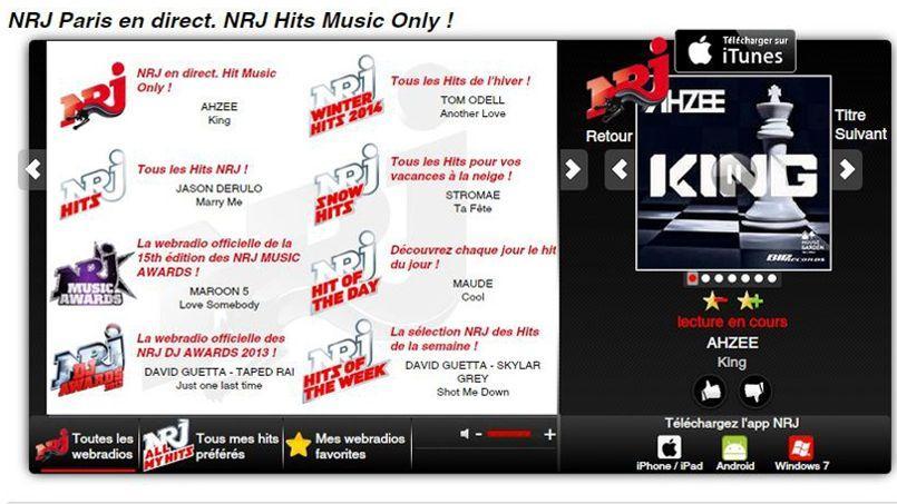 Capture d'écran du site NRJ. On peut y écouter 159webradios.