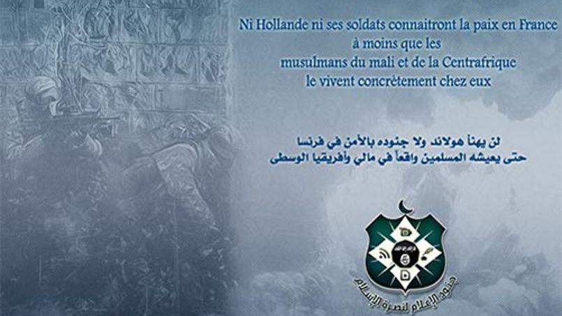 Un message extrait du site Internet djihadiste al-Minbar Jihadi Media Network.