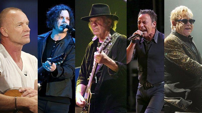 Sting, Jack White, Bruce Springsteen et Elton John (de gauche à droite) ont tous apporté leur soutien au projet de Neil Young (au centre).