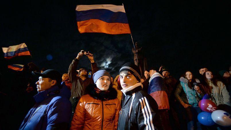 La place Lénine à Simferopol, en Crimée, le 16 mars 2014.