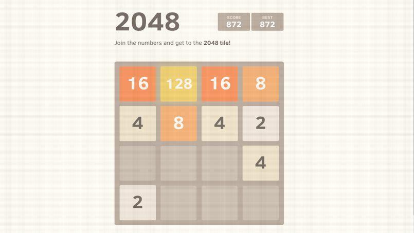 Le jeu en ligne 2048, également présent sur smartphone. DR/capture d'écran de «2048»