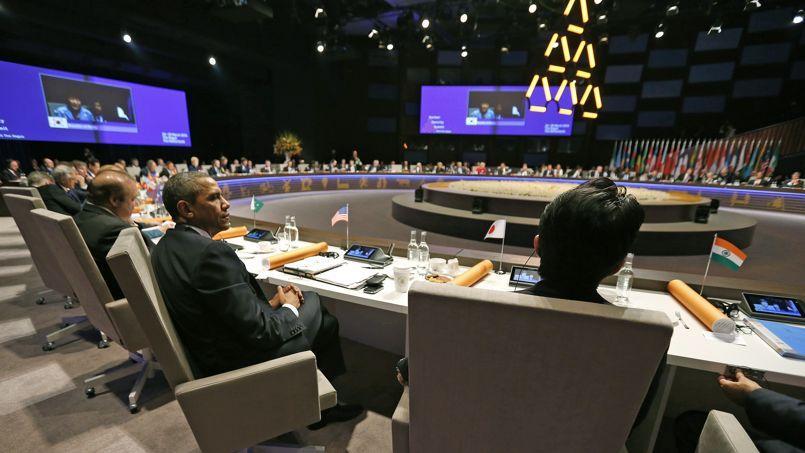 Barack Obama lors de la session d'ouverture du G7, lundi à La Haye