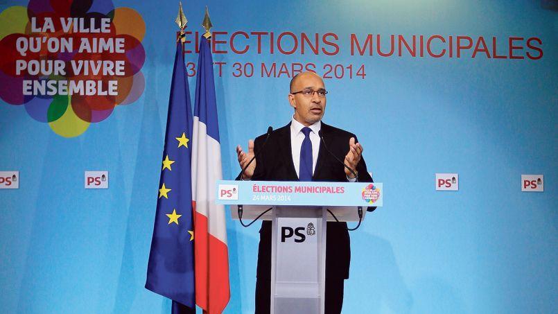 Point presse du numéro un du PS Harlem Désir, lundi au siège du parti, rue de Solférino à Paris.