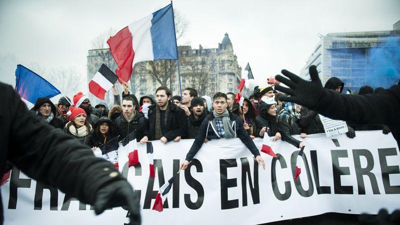 Manifestation contre François Hollande à l'appel du collectif Jour de colère, le 26 janvier à Paris.