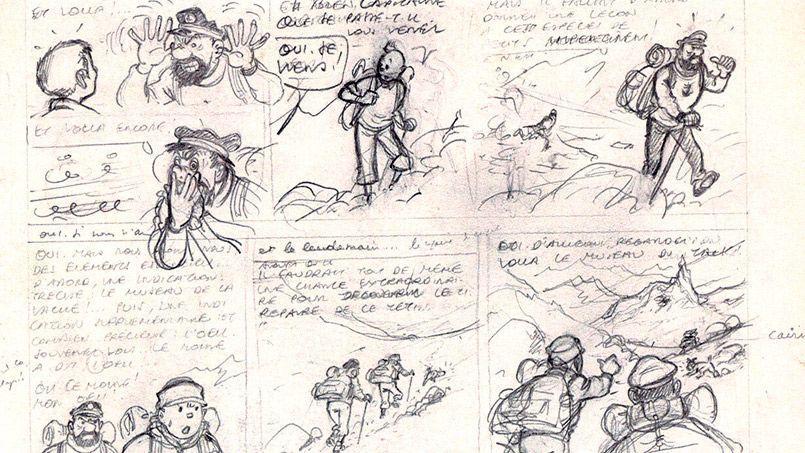 Extrait de la planche 54 de Tintin au Tibet, crayonné original d'Hergé (Casterman 1960).