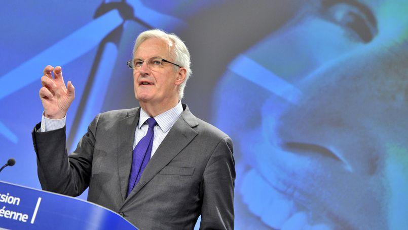 Michel Barnier au cours d'une conférence de presse à Bruxelles fin mars.