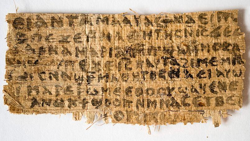 """«Jésur leur dit: """"Ma femme""""» et «elle pourra être ma disciple» sont les deux phrases qu'il est possible de distinguer sur ce papyrus écrit en langue copte."""