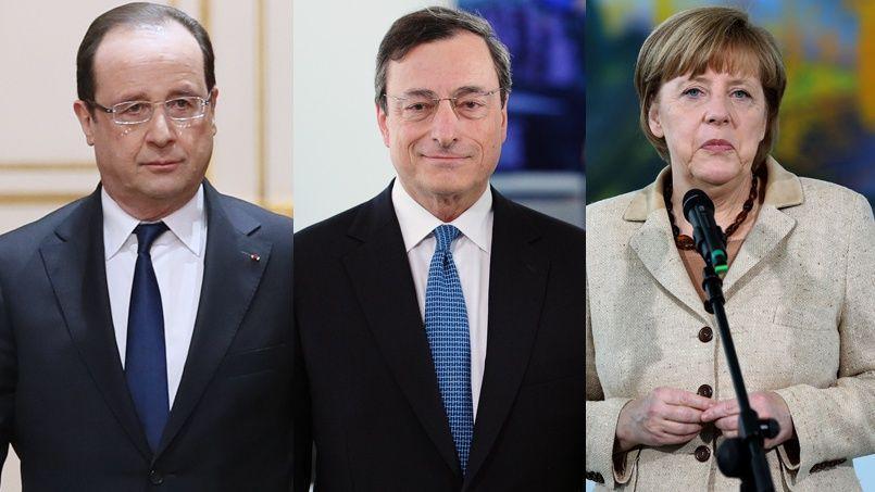 Les salaires d'Angela Merkel et de François Hollande sont respectivement inférieurs de 21% et 30% à celui du commissaire européen Mario Draghi.