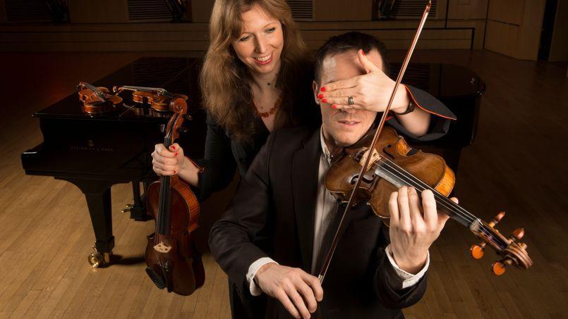 Claudia Fritz, ici avec le soliste Hugues Borsarello à l'auditorium de Vincennes, a voulu vérifier si, à l'oreille, la supériorité des stradivarius était avérée.