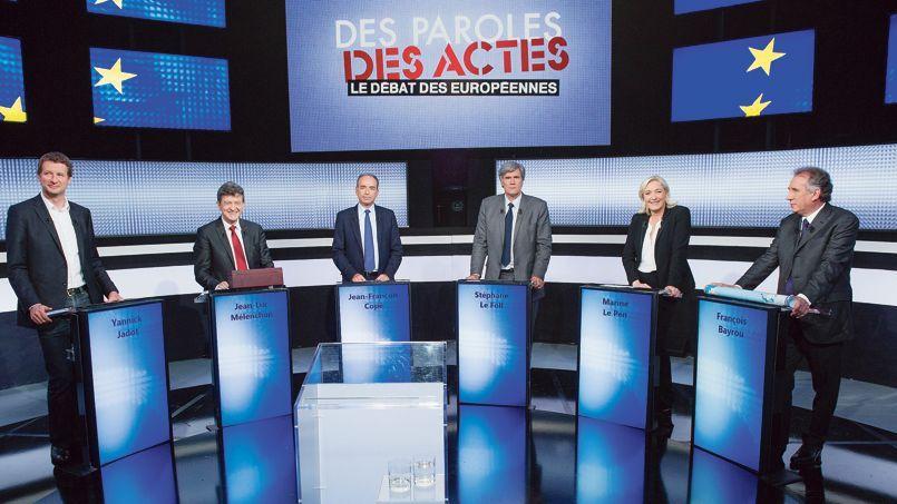 Les responsables des principaux partis politiques engagés dans la campagne des européennes lors d'un débat, jeudi soir, sur France2.