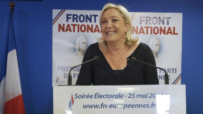 Marine Le Pen, dimanche soir. Le Front national est arrivé en tête aux élections européennes en France, avec 24,95% des voix.