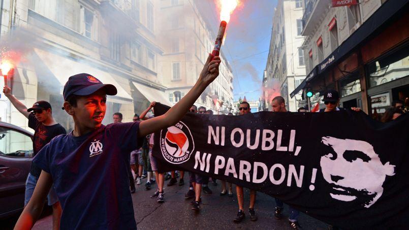 En juin 2013, manifestation en hommage à Clément Méric à Marseille.