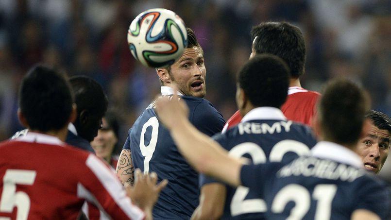 Olivier Giroud lors du match France-Paraguay à Nice le 1er juin.