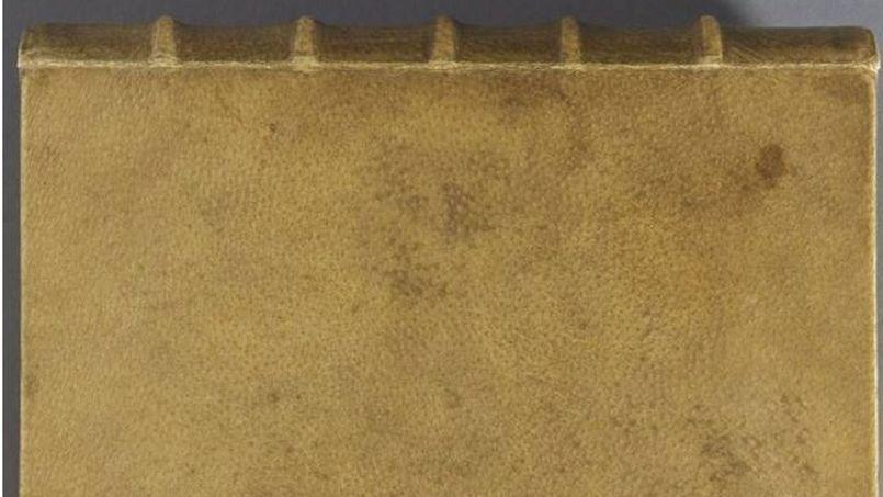 La couverture en peau humaine de Des Destinées de l'âme (1879) découvert à l'université d'Harvard, aux États-Unis.