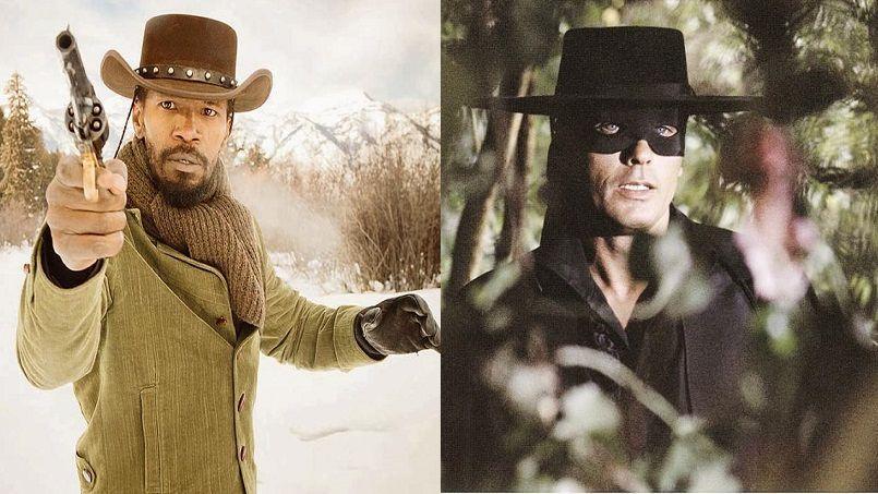 Django Freeman (Jamie Foxx), héros de Django Unchained de Tarantino sorti en 2013 et Zorro (ici interprété par Alain Delon dans le film de Duccio Tessari).