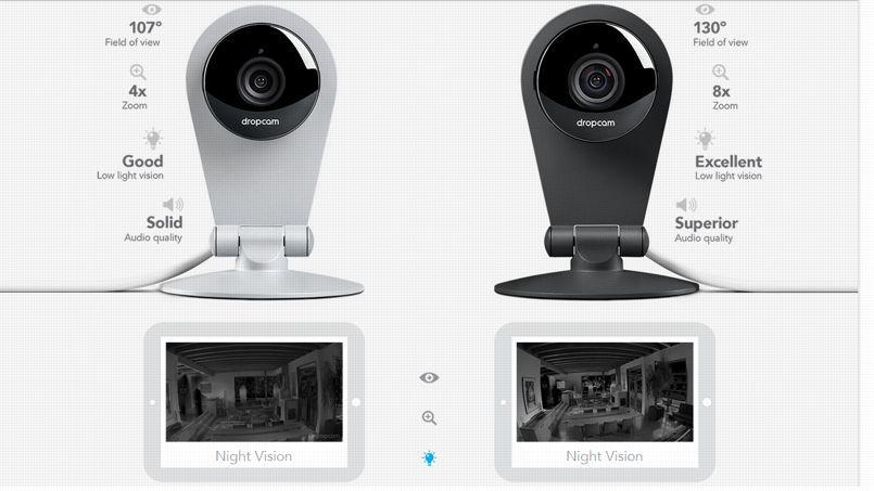 Les caméras de Dropcam peuvent être pilotées à distance, depuis un smartphone ou une tablette