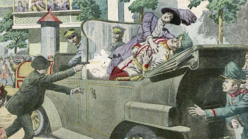 L'assassinat de l'archiduc Francois-Ferdinand de Habsbourg et de l'archiduchesse Sophie, illustration du Petit Journal du 12 juillet 1914.