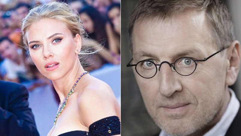 À gauche l'actrice américain Scarlett Johansson, à droite l'écrivain français Grégoire Delacourt.