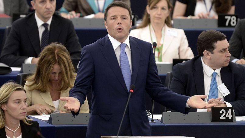 Le président du Conseil italien, Matteo Renzi, mercredi, au Parlement européen, à Strasbourg.