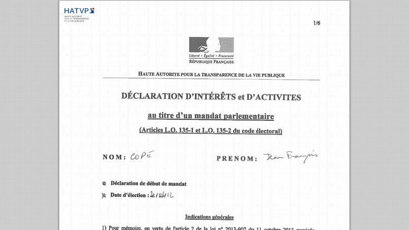 Capture du document envoyé par Jean-François Copé.