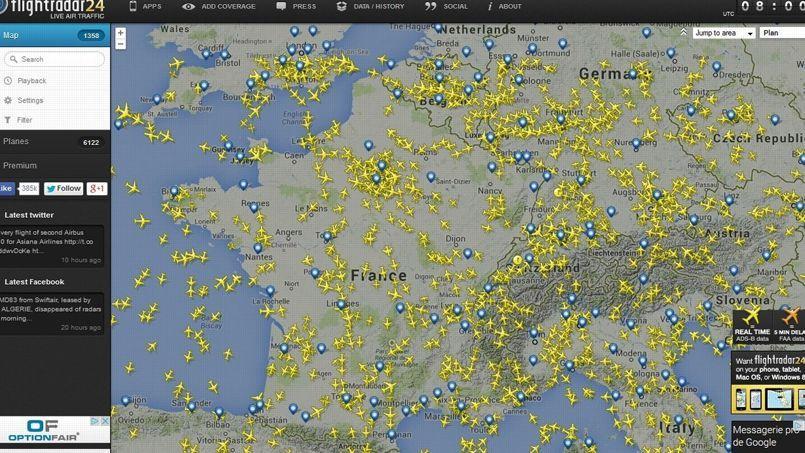 Les vols qui survolent la France ce vendredi 25 juillet, vers 10h, d'après FlightRadar 24.
