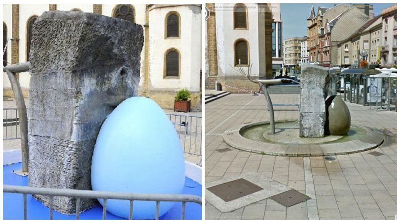 La fontaine repeinte (à gauche) et avant le coup de peinture (à droite). Montage. AFP /Google Street View