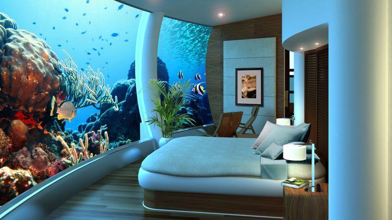 Les poissons ont remplacé la télévision. (Poseidon Undersea Resort)
