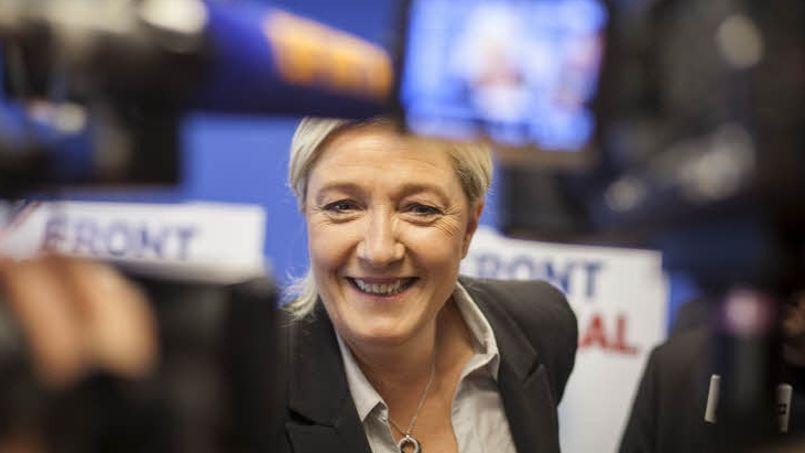 La présidente du Front national, Marine Le Pen, au siège du parti en mai