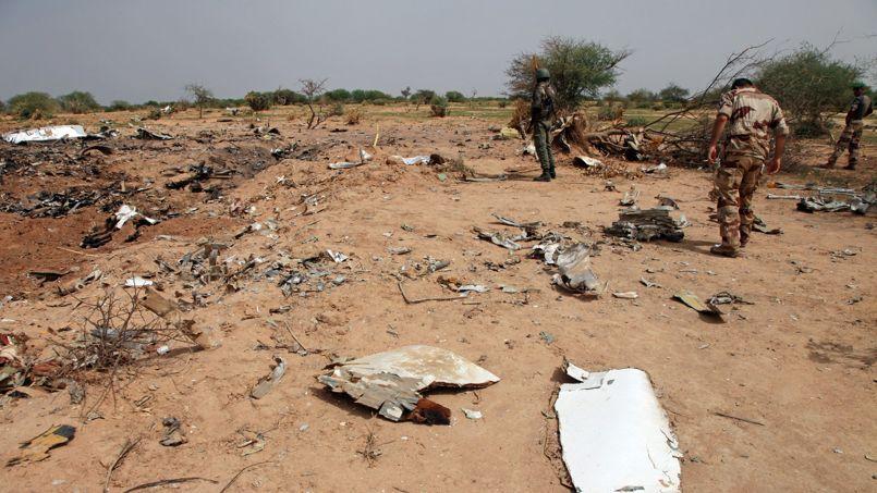 Le site du crash, au Mali. L'avion a été pulvérisé.
