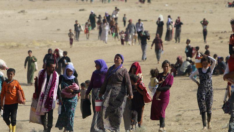 Des Yazidis fuient la ville de Sinjar, dans le nord-ouest de l'Irak, prise par les djihadistes de l'État islamique, le 11 août.