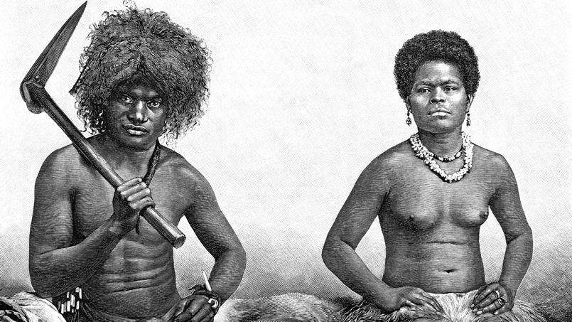 Un homme et une femme canaques en Nouvelle Caledonie, gravure par Thiriat, 19e siecle