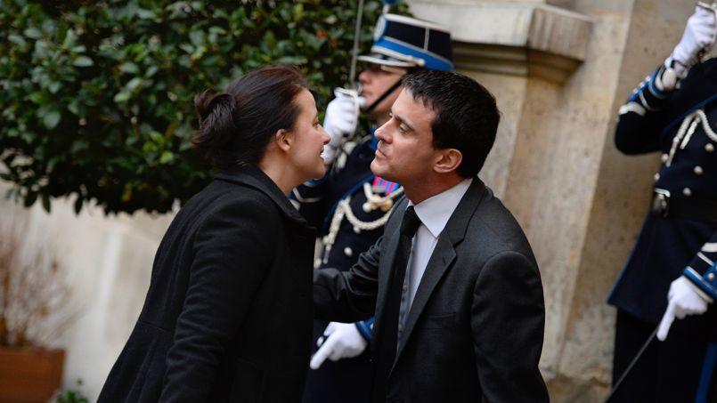 Cécile Duflot, ancienne ministre du Logement, et l'actuel premier ministre Manuel Valls.