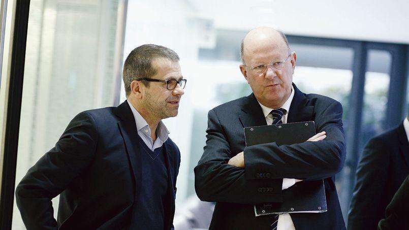 Le président de France Télévisions, Rémy Pflimlin, et Thierry Thuillier, directeur de France 2.