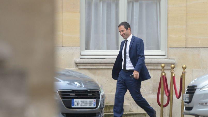 L'ex-ministre de l'Education nationale Benoît Hamon à Matignon lundi 25 août, après que François Hollande a demandé à Manuel Valls de former un nouveau gouvernement.