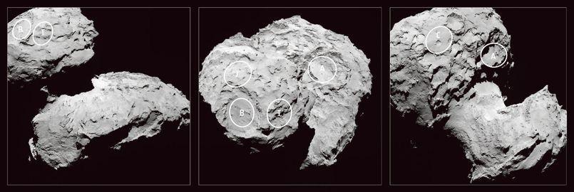Cinq sites potentiels d'atterrissage dans le viseur de Rosetta