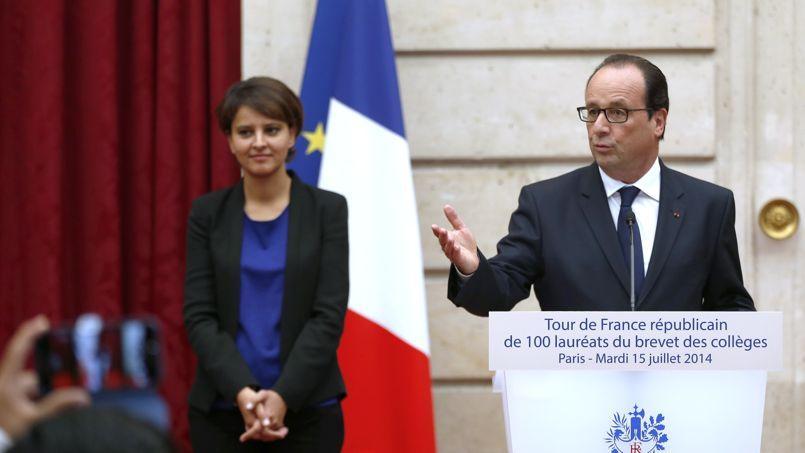 Najat Vallaud-Belkacem et François Hollande, en juillet 2014.