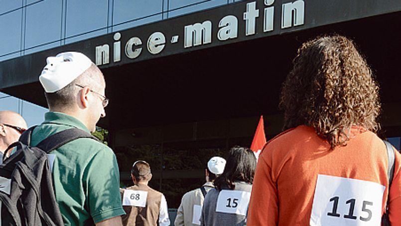 Mobilisation des salariés du groupe Nice-Matin contre le projet de suppression de postes, en novembre 2013.