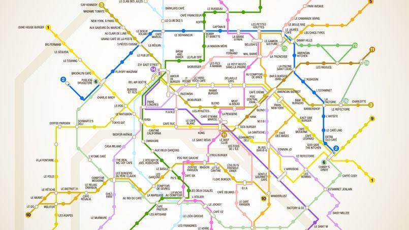 Plan de métro des burgers parisiens (Crédit: FraisFrais)