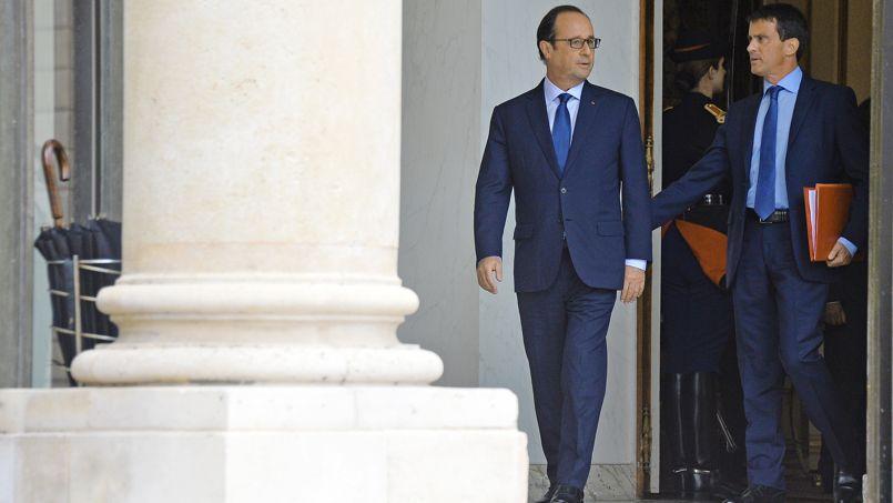 François Hollande et Manuel Valls sur le perron de l'Élysée, fin août.