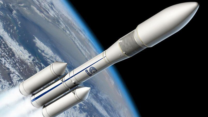 Vue d'artiste d'une ancienne configuration d'Ariane 6, qui n'a pas été retenue.