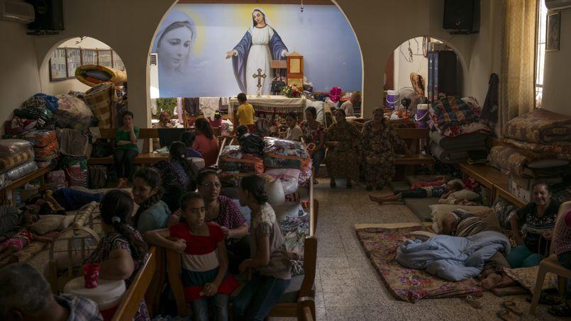 Le sanctuaire de Mart Chmouni, le 1er septembre. Situé à Ankawa, dans la banlieue d'Erbil, au Kurdistan, il a ouvert ses portes aux réfugiés chrétiens qui ont fuit les persécutions de l'État islamique.