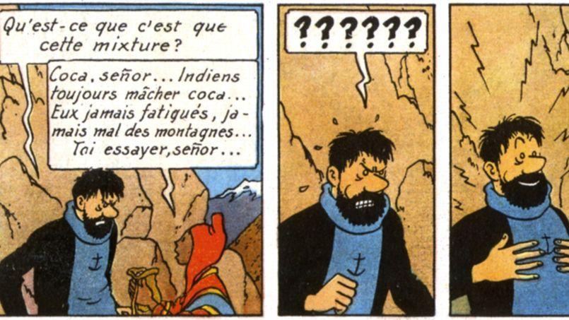 Hergé met en scène un Haddock qui se drogue pour mieux suivre le tempo d'enfer imposé par son ami Tintin.