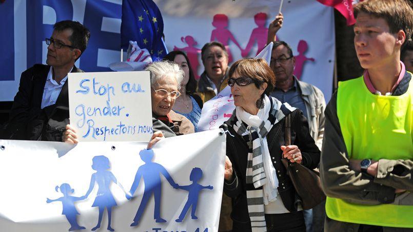 Des opposants à la théorie du genre, à Nantes.