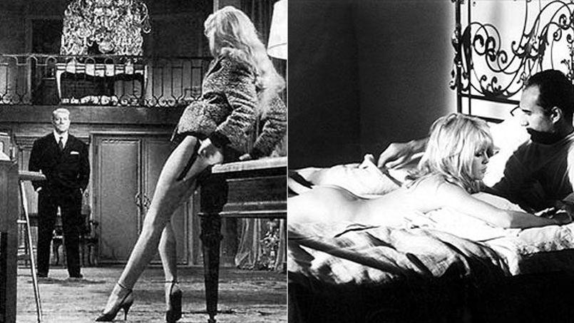 À gauche, Brigitte Bardot et Jean Gabin dans En cas de malheur (1958) de Claude Autant-Lara. L'actrice partage l'affiche du film Le Mépris (1963) de Jean-Luc Godard avec Michel Piccoli.