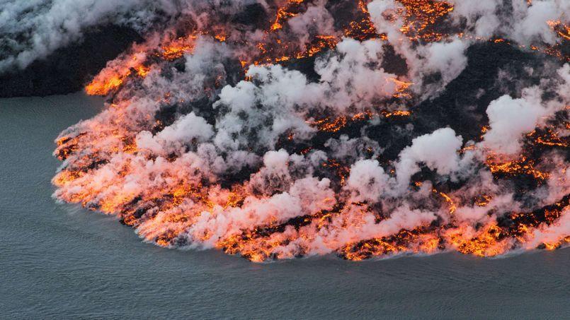 Le volcan islandais Holuhraun en éruption le 14 septembre.