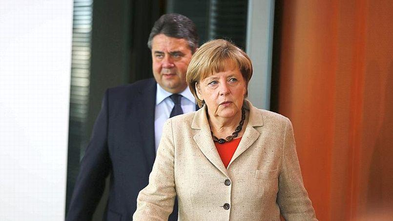 La chancelière allemande, Angela Merkel, avec le ministre des Finances, Sigmar Gabriel