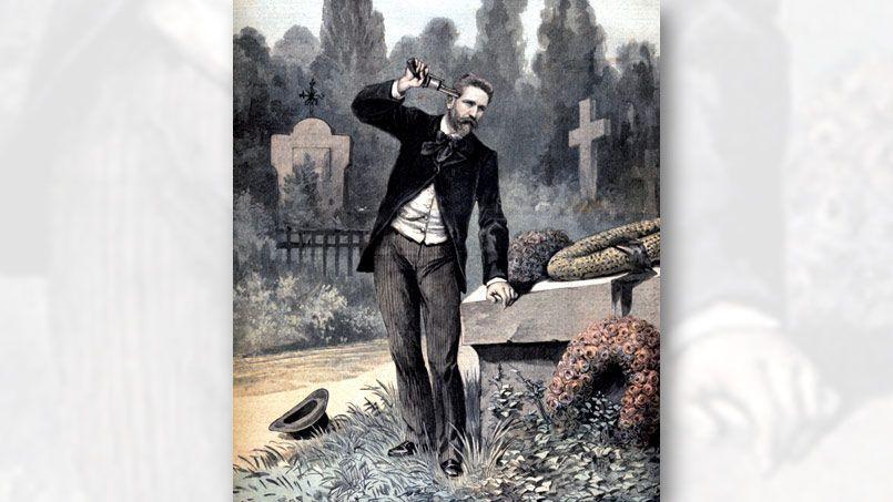 Suicide du général Boulanger au cimetière d'Ixelles. Une du Petit Journal du 10 octobre 1891.